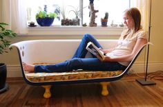 DIY Clawfoot Bathtub Couch | 17 Quirky Couches Made from Repurposed Materials