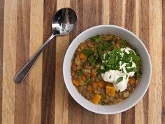 Braised Lentils with Kumera by tastyshoestring.com