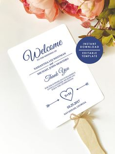 Navy Wedding Program Template, Printable Wedding Programs Instant Download, Editable Template, Double-Sided Program
