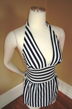 Striped NAUTICAL Pinup Swim-Suit 1950s Vintage PLUNGE Bust Sailor Skirted attached Shorties Bathingsuit 1960s V L V Pool Party MINT on Etsy, $257.88 AUD