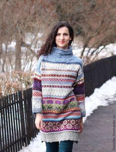 Купить или заказать Жаккардовое платье-свитер 'Февраль' в интернет-магазине на Ярмарке Мастеров. Жаккардовый свитер, длиннющий или короткое платье. Теплый, не колючий. Ажурные узоры, нежные серо-голубые, белые и аметистовые тона. Талый снег, пурга, сосульки, сиреневые вечера и предчувствие скорой буйной весны, цветущих садов)). Прекрасно подойдет для катания на коньках и лыжах для праздников на открытом воздухе и дачных посиделках в прохладное время.
