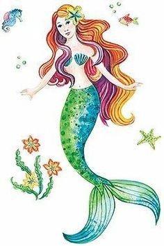 Mermaid Peel And Stick Vinyl Mural Wall Sticker Large Wall Stickers Murals, Wall Murals, Wall Art, Mermaid Wall Decals, Mermaid Artwork, Mermaid Paintings, Surf, Mermaid Diy, Mermaid Bathroom