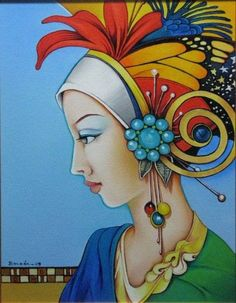 """Orestes Bouzon - looks similar to """"Art Deco"""" Art, to me. Silk Painting, Painting & Drawing, Hirsch Illustration, Painting People, Whimsical Art, Face Art, American Art, Bunt, Modern Art"""