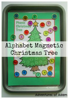 Alphabet Magnetic Christmas Tree. A simple preschool/kindergarten game to match uppercase and lowercase letters of the alphabet. Use a magnetic wand to move the baubles around. Linking science and literacy.