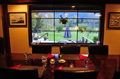 You can see the Grizzly bears from our dining room! Can you spot the bears?
