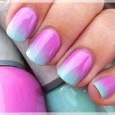 Ombre pink n aqua.. Looks like candy!