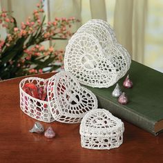 Crocheted Heart Boxes - TerrysVillage.com