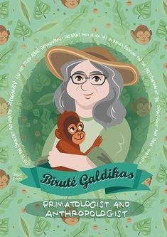 Biruté Galdikas Women in Science poster | Etsy Science Illustration, Borneo Orangutan, Orangutans, Rainforest Habitat, Katherine Johnson, Biro, Women In History, Irene, Habitats