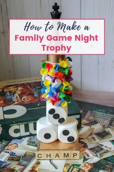 Having a handmade rotating family game night trophy makes game night a lot more fun!  Celebrate the nights champion with this game night trophy or let the winner hold it at the end of each game.  This easy framily craft will make family game nights memorable and leave fun stories to tell for generations to come. We are also talking great Family Game Night Ideas and Tricks! Family Fun Games, Make A Family, Family Movie Night, Family Family, Couple Games, Game Night Food, Game Night Parties, Night Games, Game Party