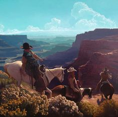 Mark Maggiori, French ), Boys of the Land, oil on linen, x private collection Western Horseman, Western Photography, Cowboy Pictures, Southwestern Art, Cowboys And Indians, Cowboy Art, Le Far West, Horse Art, Old West