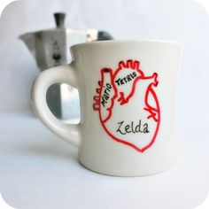 Gamer Geek Funny Mug coffee tea cup diner mug red white anatomical heart love