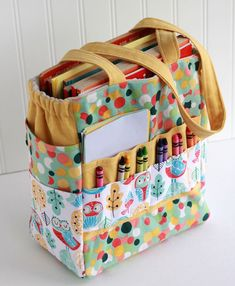 Sewing Gifts Art Caddy Tote by Gingercake - Diy Sewing Projects, Sewing Projects For Beginners, Sewing Hacks, Sewing Tutorials, Sewing Crafts, Sewing Tips, Sewing Ideas, Sewing Art, Fabric Crafts