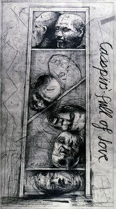 """Casspirs Full of Love"" by William Kentridge - Drypoint, engraving"