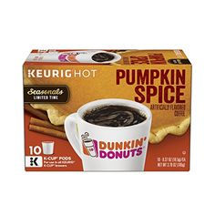 Dunkin Donuts Flavored Ground Coffee KCup Pumpkin Spice 60 Count -- Click image to review more details. Note: It's an affiliate link to Amazon.