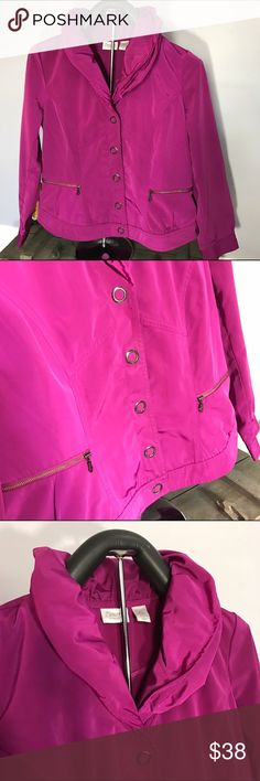 Synergy by Chico. Magenta coat. Size 1  medium Very beautiful color light lined jacket with pop up collar. Very good condition. Zenergy Chico Jackets & Coats