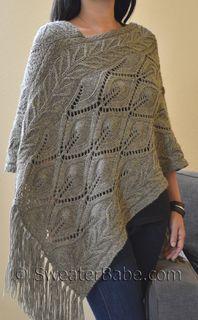Pdf Knitting Pattern For Off-Kilter Lace Poncho From Sweaterbabe.Com - Diy Crafts - knittingo Poncho Knitting Patterns, Knitted Poncho, Knitted Shawls, Knitting Stitches, Knit Patterns, Stitch Patterns, Moss Stitch, Yarn Brands, Crochet Yarn
