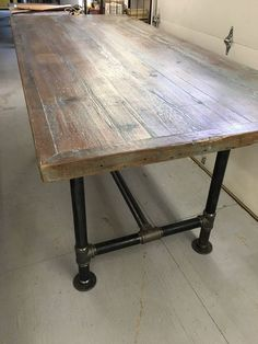 Reclaimed wood, dining table industrial pipe leg table