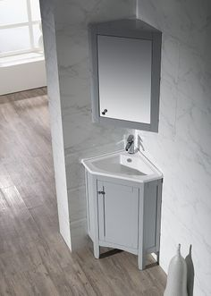 Corner Bathroom Vanities – The Ultimate Space Saving Solution For A Small Bathroom Best Picture For bathroom vanity shelf For Your Taste You are looking for something, and it is going to tell you exac Corner Bathroom Vanity, Bathroom Vanity Makeover, Small Bathroom Vanities, Double Sink Bathroom, Bathroom Design Small, Bathroom Layout, Bathroom Interior, Glass Bathroom, Master Bathrooms