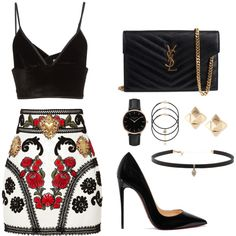 A fashion look from October 2016 featuring Dolce&Gabbana mini skirts, Alexander Wang and Christian Louboutin pumps. Browse and shop related looks.