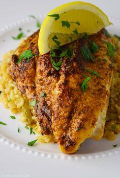 Blackened Catfish over Cajun Rice Recipe