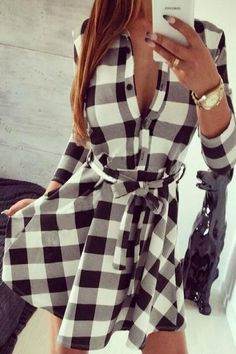 Shirt dress. The classic checkered print is in and it's back with a sexy flair! Featuring a mini skater shirt dress with long sleeves and a cute tie belt that shirt dress