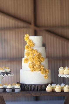 Pretty Cakes, Beautiful Cakes, Amazing Cakes, Cupcakes, Cupcake Cakes, Fondant Cakes, Wedding Cake Rustic, Wedding Cakes, Mustard Yellow Wedding