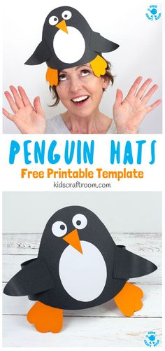 This Paper Penguin Hat Craft is really easy to make and there's a Free Printable Template too so you can dive straight into your kids craft session. This is such a cute Winter craft for kids and great to go alongside a polar region study unit or for World Winter Crafts For Toddlers, Animal Crafts For Kids, Paper Crafts For Kids, Winter Kids, Preschool Crafts, Craft Kids, Preschool Winter, Craft Free, Winter Art