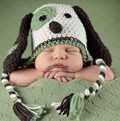 Crochet Patch Puppy/Dog Hat  Newborn-5Yrs MADE TO ORDER Photography Prop