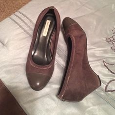 Dana Buchanan Brown Wedges Worn only once - too small for me. Size runs about 1/2 size smaller than what's listed. Excellent condition. Dana Buchman Shoes Wedges