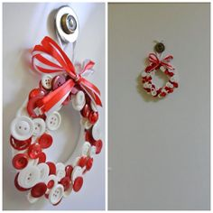 Christmas - Decoration doorwreath Xmas red and white buttons Christmas Decorations, Christmas Ornaments, Holiday Decor, Ornament Wreath, Elsa, Red And White, Craft Ideas, Wreaths, Crafts