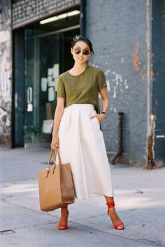 Margaret Zhang in white culottes.