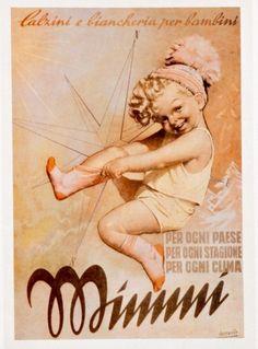 Bocassile, biancheria per bambini. Advertising Slogans, Advertising Poster, Vintage Italian Posters, Poster Vintage, Vintage Advertisements, Vintage Ads, Belle Epoque, Vintage Pictures, Print Ads