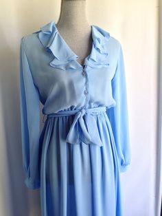 1970s sheer chiffon ruffle dress women's by VintageMindedMaven, $30.00 #vintage #dress #70s