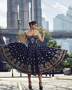 """Anita Dongre's Muse, Sonam Kapoor, in New York City for Harper's Bazaar Bride "" Anita Dongre, Western Dresses, Indian Dresses, Indian Western Dress, Bollywood Celebrities, Bollywood Fashion, Bollywood Dress, Mumbai, Wedding Salwar Suits"