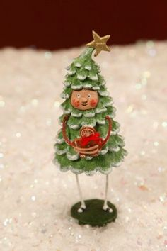 Whimsical Folk Art by Lori Mitchell. Bruce Spruce at TheHolidayBarn.com