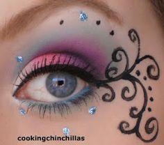 Pink Purple Turquoise futuristic Goth make up