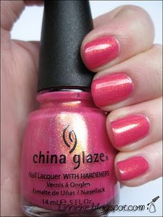China Glaze Strawberry Fields. Got this color. So pretty in person. Pink with gold shimmer.