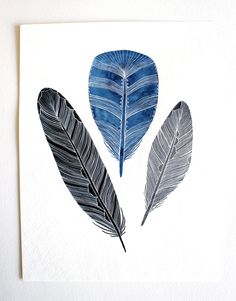 Patterned Feather Painting - Watercolor Art - Large Archival Print - 11x14 Gratitude Feathers.