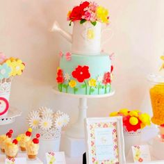 Spring themed birthday cake & party.add bunnies for Easter time for Abigail's first b day :)