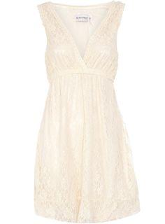 Cream lace dress with elasticated waist. Length 87cm. 92 polyester, 8 elastane. Machine washable.