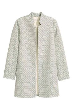 Coat in a jacquard-weave cotton blend with a stand-up collar, front pockets, and no buttons. Batik Blazer, Beaded Jacket, Daily Dress, Jacquard Weave, Long Jackets, New Wardrobe, Casual Looks, Autumn Winter Fashion, Work Wear