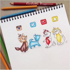 #SocialMedia Cats... They are cute.. #Instagram #Twitter #Youtube #Snapchat PC: tottadraws