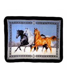 Look at this #zulilyfind! 'Horses' High-Pile Oversize Luxury Throw #zulilyfinds