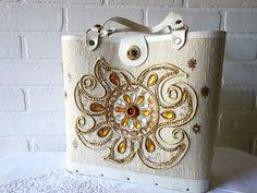 Vintage 1960's Mod Sunshine Gold Bejeweled Purse by HookedOnVintageShop