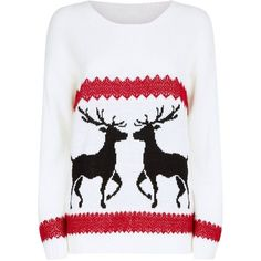 Mela Cream Reindeer Christmas Jumper ❤ liked on Polyvore featuring tops, sweaters, creme sweater, cream top, mela loves london, xmas sweaters and cream sweater