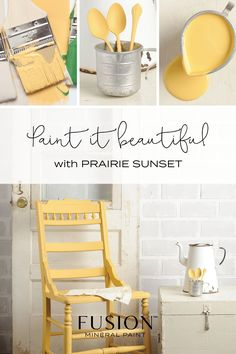 Prairie Sunset by Fusion Mineral Paint - A cheerful warm yellow, vibrant yet warm. Yellow Chalk Paint, Chalk Paint Chairs, Yellow Paint Colors, Chalk Paint Furniture, Yellow Painting, Faux Painting, White Chalk, Yellow Painted Furniture, Painted Chairs