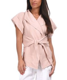 Another great find on #zulily! Light Pink Linen Wrap Jacket #zulilyfinds