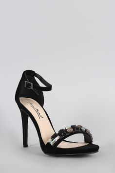 Anne Michelle Suede Jeweled Ankle Strap Stiletto Heel