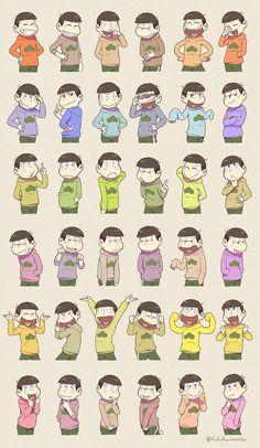 The sextuplets imitating each other! they are so frickin adorable i swear- Anime Love, Anime Guys, Manga Anime, Game Character, Character Design, Osomatsu San Doujinshi, Gekkan Shoujo Nozaki Kun, Ichimatsu, Manga Illustration