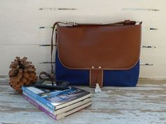 Blue Waxed Canvas Bag Leather Flap Closure Messenger by ottobags, $139.00